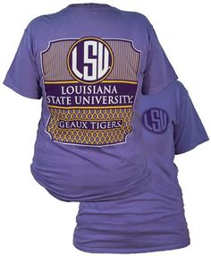 Southern Couture Preppy LSU Tigers Louisiana State University Comfort Colors Violet Girlie Bright T Shirt