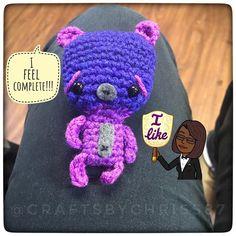He's happy that he's whole again  : : : : : #fiberartist #madewithlove #teddybear #mini #tinytoy #amigurumi #amigurumiaddict #imhooked #crochetaddict #iloveyarn #ilovecrochet #redheartyarn #yarnie #yarn #handmade #handcrafted #icrochet #dollmaker #doll #toy #kiddos #kidstoys #kids #bear #wildlife #kawaii