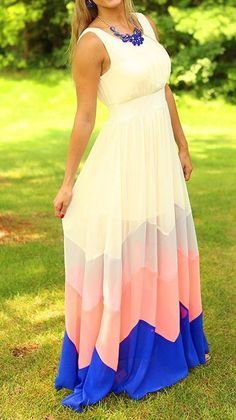 Beige Wave Striped Draped Round Neck Sleeveless Floor Length Chiffon Maxi Dress