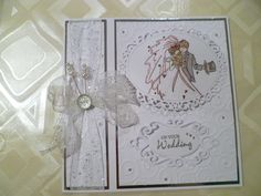 Wedding card using lily of the valley stamp