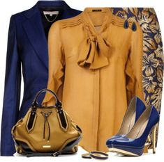 Outfit by daiscat The color combination of gold and dark blue can be another good choice for those of you who love to express yourself with your formal clothes. We had some formal clothing collecti… Classy Outfits, Chic Outfits, Floral Outfits, Floral Skirts, Skirt Outfits, Work Fashion, Fashion Looks, Mode Bcbg, Modelos Fashion