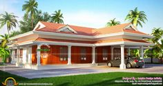 Gallery of Kerala home design, floor plans, elevations, interiors designs and other house related products Village House Design, Kerala House Design, Village Houses, Kerala Houses, House Elevation, House Entrance, Dream House Plans, Side View, Modern Farmhouse
