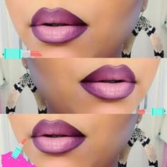 I don't normally wear lipstick, but I love how this looks! Purple Ombre Lips by Melissa M. Click the pic to see the fab products she used. Pretty Makeup, Love Makeup, Beauty Makeup, Makeup Looks, Hair Beauty, Makeup Tips, Glamour Makeup, Fashion Glamour, Drugstore Beauty