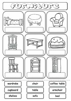 Furniture (drag and drop) Language: English Grade/level: elementary School subject: English as a Second Language (ESL) Main content: Furniture Other contents: furniture, house, home English Primary School, Learning English For Kids, English Worksheets For Kids, English Lessons For Kids, English Activities, School Worksheets, Kindergarten Worksheets, Teaching English, In Kindergarten