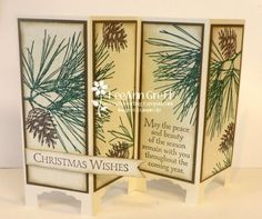 Flowerbug's Inkspot: Ornamental Pine Screen Divider with video! - Artisan Label Punch - Banner Punch - Iridescent Ice Stampin' Emboss Powder