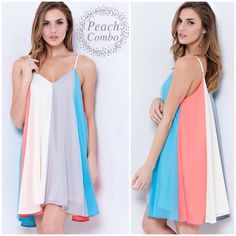 """""""Cotton Candy"""" Colorblock Dress Super fun and girly chiffon colorblock dress. Dress has adjustable straps and is fully lined. This dress is NOT sheer. 100% Polyester. This listing is for the PEACH COMBO. Also available in the peach combo. Brand new without tags. Bare Anthology Dresses"""
