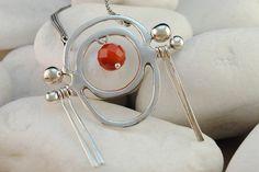 Sterling Silver Carnelian Quartz Necklace