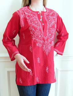 Our wide selection of Women's Plus Tunics in Cotton features this Designer Dark Red Embroidered Cotton Tunic Top on Sale at deeply discounted pricing. This Embroidered Plus Tunic / Top / Kurti is made from superior cotton. Indian Tops, Cotton Tunic Tops, Dark Red, What To Wear, Neck Design, Kurtis, My Style, Shawls, Blouse