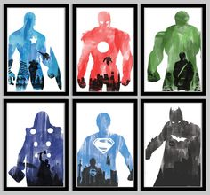 Superhero Poster Collection: Captain America, Iron Man, Hulk, Thor, Superman, and Batman - 18x24