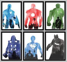 Superhero Poster Collection: Captain America, Iron Man, Hulk, Thor, Superman, and Batman - 18x24
