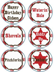 Western Cupcake Cake Toppers LARGE cowgirl cowboy  JPEG 300 dpi printable theme southern boy girl horse cow pony print farm texas on Etsy, $7.00