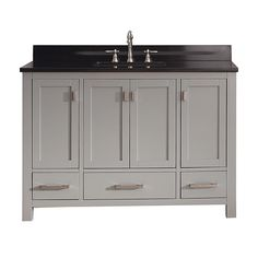 Modero Chilled Gray 48-Inch Vanity Combo with Black Granite Top