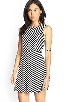 Chevron Striped Cutout Dress | FOREVER 21 - 2000083417