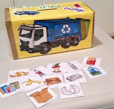 """Using """"Garbage Truck Dump"""" by Hookster's Ideas to help my toddler combine words (build expressive language) by doing something he loves, putting trash in the garbage truck! Toddler Teacher, Toddler Fun, Toddler Learning, Toddler Preschool, Toddler Crafts, Toddler Activities, Classroom Crafts, Preschool Crafts, T Is For Train"""