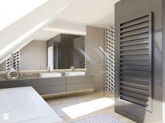 Kawa z mlekiem. - Średnia łazienka na poddaszu w domu jednorodzinnym jako domowe spa z oknem, styl nowoczesny - zdjęcie od The Origin - Interior Design