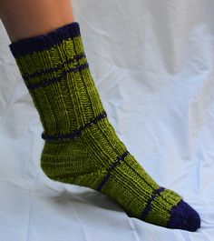 Simple Syrup Socks by Knit & Pearls. malabrigo Rios in Lettuce and Purple Mystery
