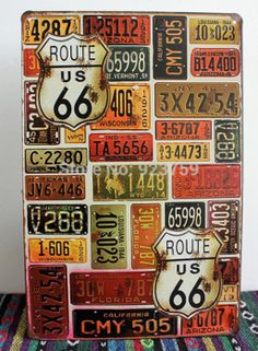 Route 66 car plates painting Vintage Tin Sign Bar pub home Wall Decor Retro Metal Art Poster