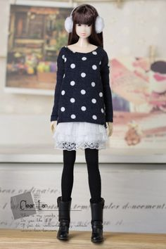 Clear lan | doll clothes <--- Polka dot long sleeve shirt with solid color sleeves. 27cm (m)