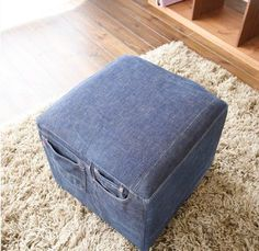 DIY Ottoman : DIY Recycle Your Old Jeans Into Furniture DIY Furniture