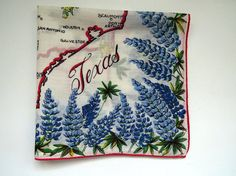 Vintage TEXAS Handkerchief  Texas State Souvenir Hankie Hanky