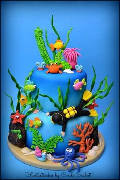 Under the Sea Cake - by CecileCrabot @ CakesDecor.com - cake decorating website