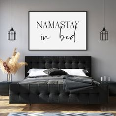Bedroom Black, Large Bedroom, Charcoal Bedroom, Black White Bedrooms, Monochrome Bedroom, Nursery Room Decor, Wall Decor, Bedroom Signs, Male Bedroom Decor