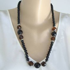 Faceted Topaz Black Graduated Bead Necklace Faceted Rondels Vintage Jewelry