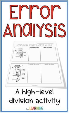 One of the best ways to increase student achievement in math is through high level activities like error analysis. This activity requires math students to analyze mistakes in a division problem that uses the partial quotient method. Students analyze the m Teaching Measurement, Teaching Math, Teaching Ideas, Teaching Decimals, Maths, Math Classroom, Classroom Design, Classroom Organization, Classroom Management