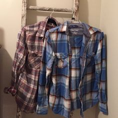 Flannel shirt bundle -- Converse and Mossimo Two flannels for one low price.  The blue is a small Mossimo athletic fit. The red and gray a medium Converse All Star. Both come from a non- smoking home:-) Tops Button Down Shirts