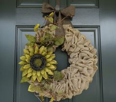 Green Sunflower Burlap Wreath--Burlap Wreath--Fall Burlap Wreath--Autumn Wreath--Sunflower Wreath--Large Sunflower Wreath