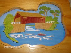 Old Time Covered Bridge 3 D Wall Hanging Covered Bridges, Wall Hangings, 3 D, Painting, Covered Decks, Painting Art, Paintings, Paint, Draw