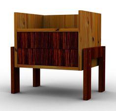 Criado mudo com estrutura de madeira maciça e duas gavetas, pés em madeira maciça. Gavetas e pés aproveitados de um antigo buffet. Peça única.