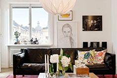 Salas decoradas com sofá preto ~ Decoração e Ideias - casa e jardim