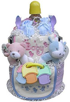 This colorful and fun Twins Diaper Cake is sure to charm the lucky twosome! Present one as a baby shower gift, or use it as a creative shower centerpiece. Every