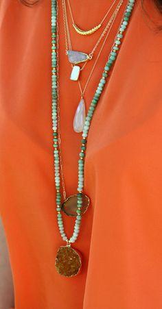 CHRYSOPRASE citrine druzy necklace   Kei Jewelry