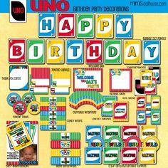 Uno Decorations- Printable Uno Birthday Party Decorations- Uno Birthday Party PDF/JPEG. $26.99, via Etsy.