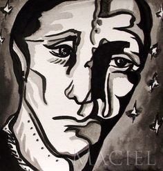 "Ink drawing Maria Maciel ""He prayed unto the 7 stars"" 20cm x 21cm."