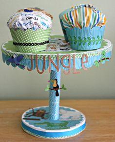 Jungle themed cupcake stand - Scrapbook.com