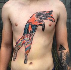Surreal landscape fox tattoo by Andy Marsh
