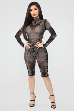 Coming For You Studded Romper - Black – Fashion Nova Girls Rompers, Rompers Women, Jumpsuits For Women, Women's Rompers, Curvy Outfits, Hot Outfits, Stilettos, See Through Dress, Culottes