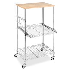 Create extra counter space in your kitchen with this Whitmor utility cart, which is a perfect place for a microwave or other small appliances. For kitchens with sufficient counter space, use the cart