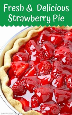 Fresh and Delicious Strawberry Pie - Audrey's Kitchen Chocolate Strawberry Pie, Strawberry Torte Recipe, Easy Strawberry Pie, Strawberry Dessert Recipes, Strawberry Cream Cheese Pie, Strawberry Fluff, Strawberry Cakes, Strawberry Fields, Easy Pie Recipes