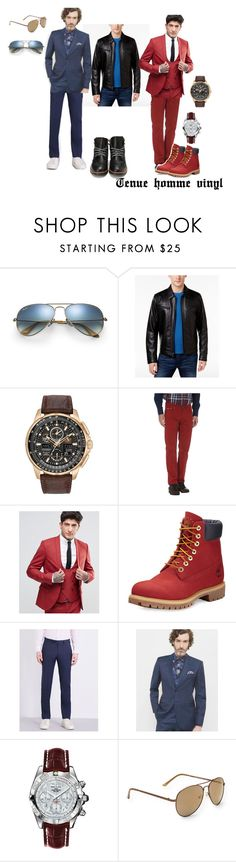 """""""Tenue marié vinyl"""" by clarissegaubert on Polyvore featuring Ray-Ban, Michael Kors, Citizen, Harmont & Blaine, Noose & Monkey, Timberland, Armani Collezioni, Ted Baker, Breitling and Aéropostale"""