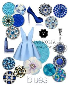 Color is everything.... Jewelry that can go with any outfit! Design a style that's right for you! GET YOUR  BLUE ON!! ..with Magnolia & Vine Jewelry & Interchangeable snaps shown here. www.MyMagnoliaAndVine.com/1344