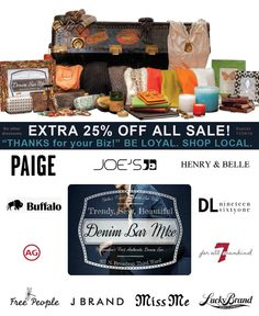 """Stella's Trunk says """"THANKS for your biz!"""" Extra 25% OFF ALL SALE. BE LOYAL. SHOP LOCAL. Expires 11/26/14"""
