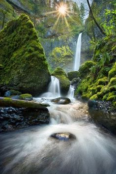 Waterfall in the Columbia Gorge, Oregon -- by Marc Adamus Beautiful Waterfalls, Beautiful Landscapes, Oh The Places You'll Go, Places To Travel, Natur Wallpaper, Beautiful World, Beautiful Places, Photos Voyages, Amazing Nature