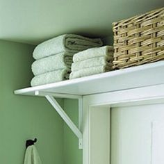 Best Storage Ideas - shelf over door also good for laundry room, or kitchen!