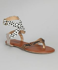 Take a look at this Brown & Beige Ankle Wrap Sandal by Shoes of Soul on #zulily today!