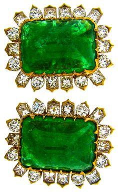 green.quenalbertini: Emerald and Diamond Earrings