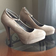 WORN ONCE! Nude Suede Heels w/Platform These shoes are so beautiful! I love the ankle straps- you don't above to worry about walking out of them! No stains or scuffs. Maurices Shoes Heels